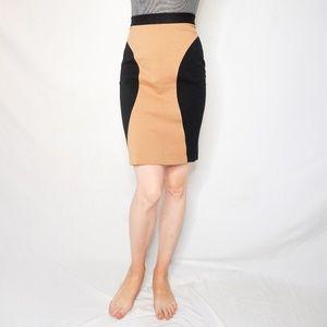 REBECCA MINKOFF Tan Black Contrast Mini Skirt 1023